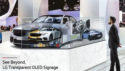 transparent led wall in trade show booth